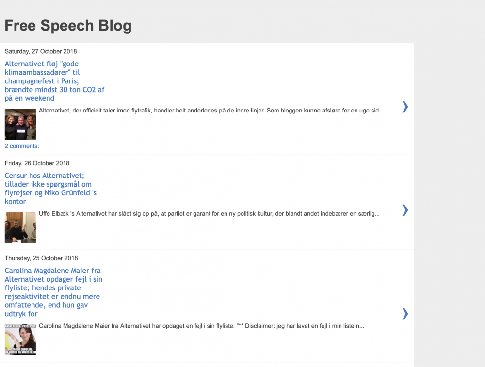 Screenshot fra Free Speech Blog