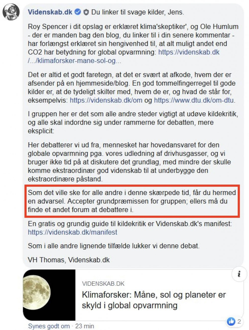 Screenshot fra Facebook til dokumentation