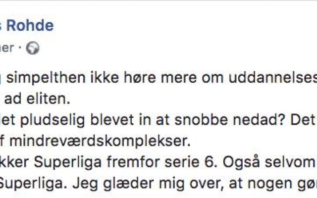Screenshot fra Facebookj